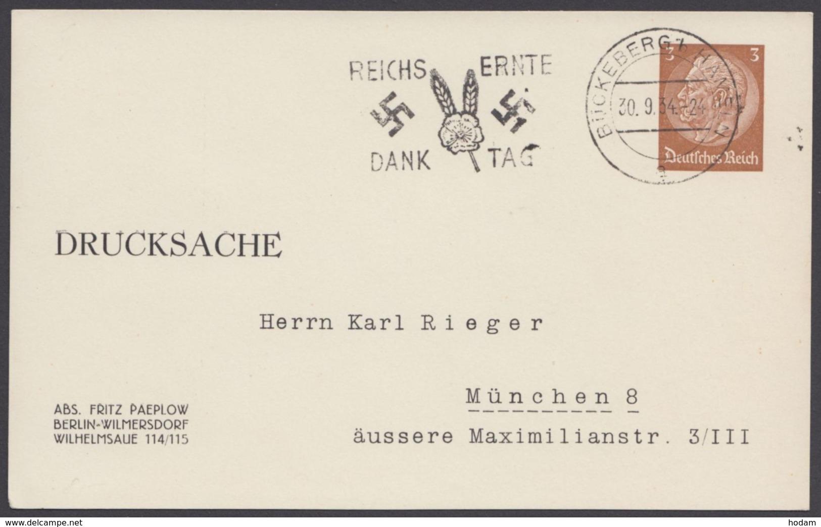 """PP 122  B 4/10, Sst. """"Bückeburg,Erntedank"""", 30.9.34 - Deutschland"""