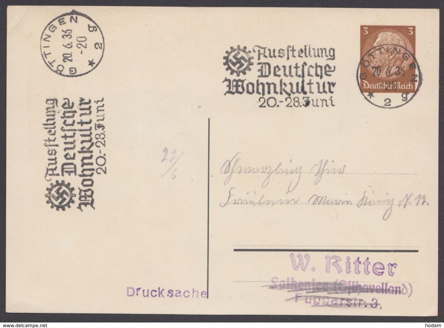 """PP 122 A 4/01, Sst. """"Göttingen, Wohnkultur"""", 20.6.36 - Deutschland"""