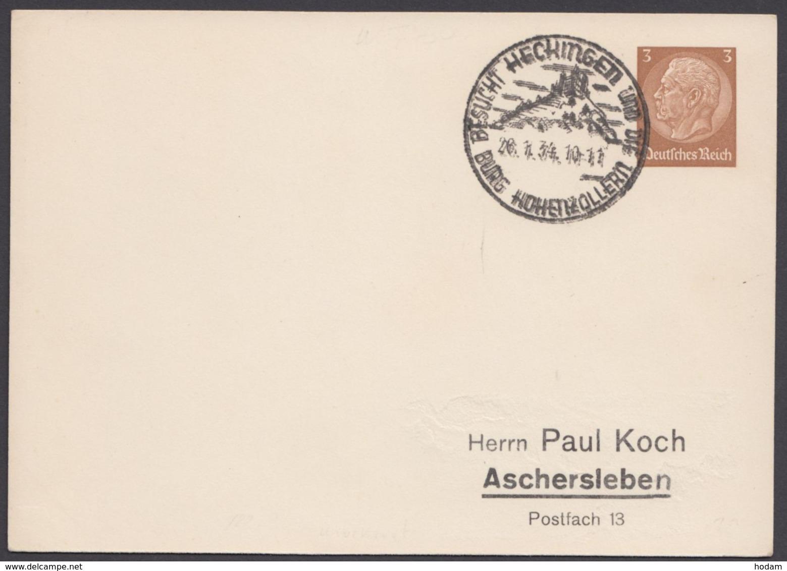"""PP 122 B 1/01, Sst. """"Hechingen, Burg Hohenzollern"""", 26.4.34 - Deutschland"""