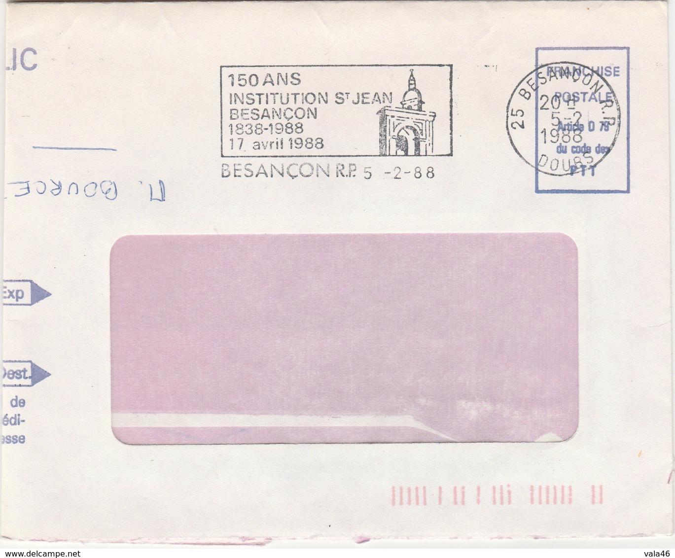 BESANCON  25 DOUBS  FLAMME  150 ANS  INSTITUTION ST JEAN SUR ENVELOPPE - Marcophilie (Lettres)