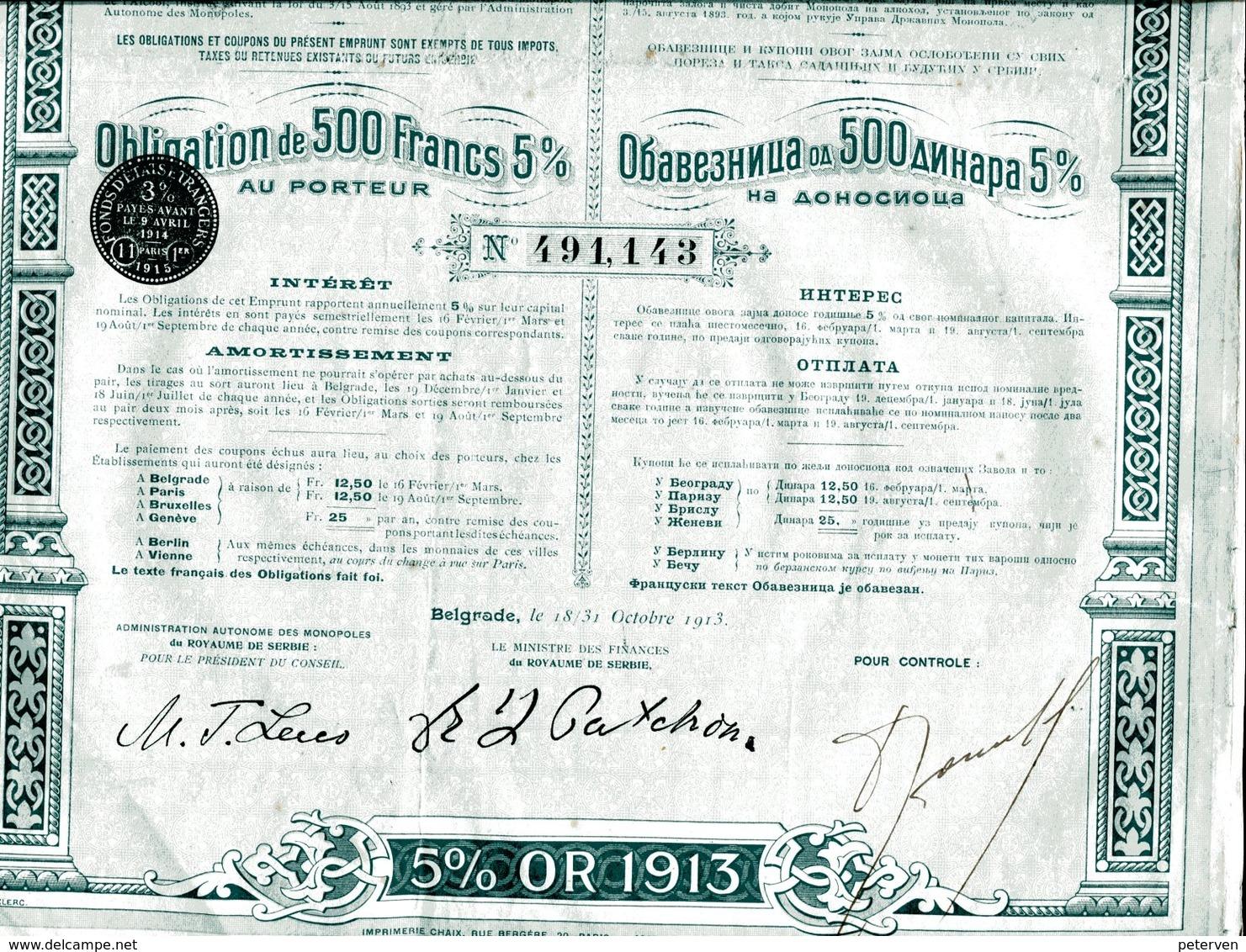 Royaume De Serbie: 5% Emprunt Or De 1913 - Banque & Assurance