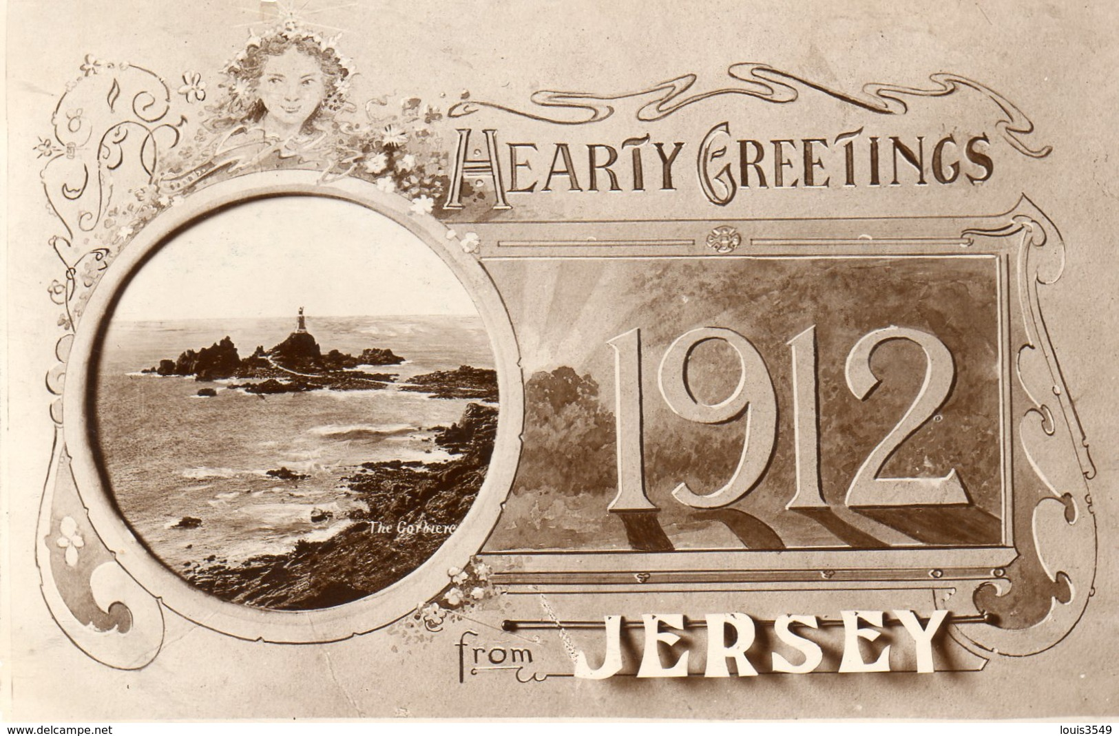 Jersey -    Aearty - Greetings -   1912  From - Jersey