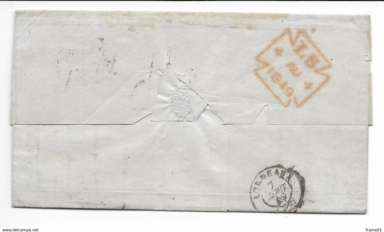 LAC 1849 London --> Bordeaux, Port Du Taxé 16 Decimes, Timbre Ligne  De Boulogne - ...-1840 Préphilatélie