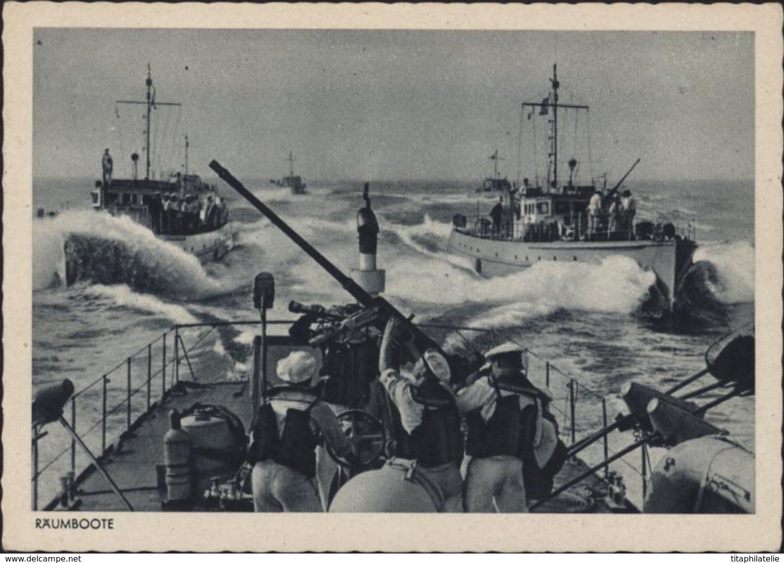 Sur CP Räumboote Armée Allemande Vedette Rapide Marine Guerre 39 45 CAD Muet 25 6 43 Cachet Corbeau Feldpost - Briefe U. Dokumente