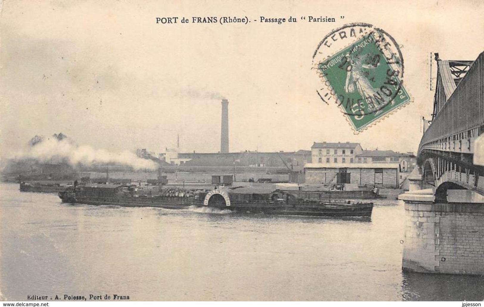"""AIN  01  PORT DE FRANS - PASSAGE DU """"PARISIEN""""  NAVIGATION FLUVIALE - Francia"""