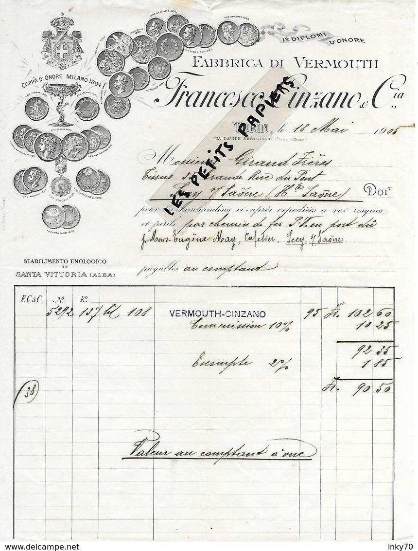 Italie - TURIN - Facture CINZANO  - Fabrique De Vermouth - 1905 - REF 275 - Italie