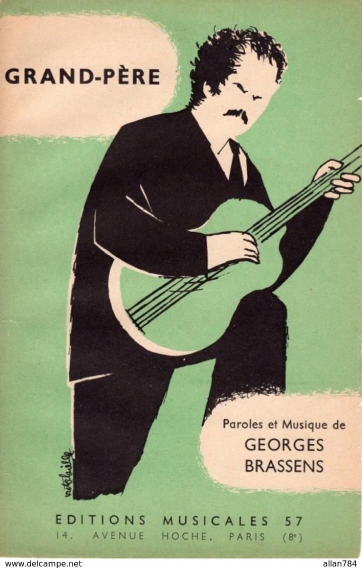 """PARTITION GEORGES BRASSENS  """" GRAND PERE """" - 1957 - EXCELLENT ETAT. - ILLUSTRATEUR VICTOR LAVILLE. - Music & Instruments"""