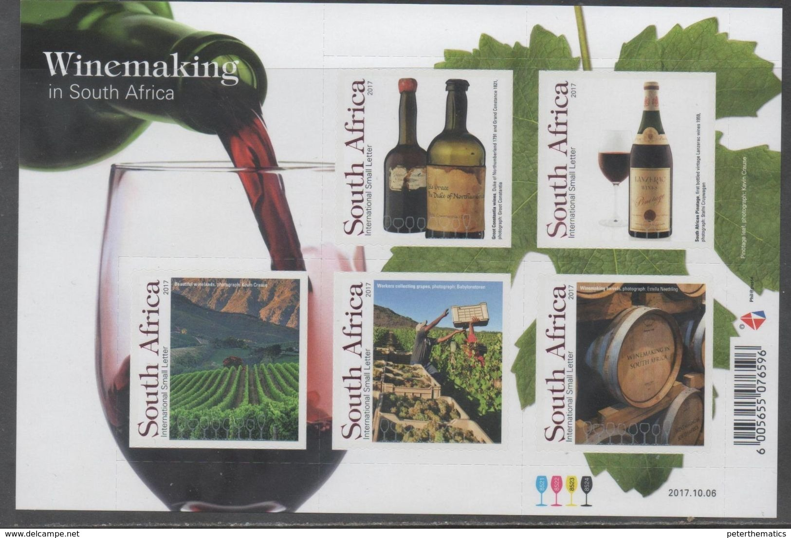 SOUTH AFRICA , 2017, MNH, WINE MAKING IN SOUTH AFRICA, WINES, GRAPES, MOUNTAINS, SHEETLET - Wines & Alcohols