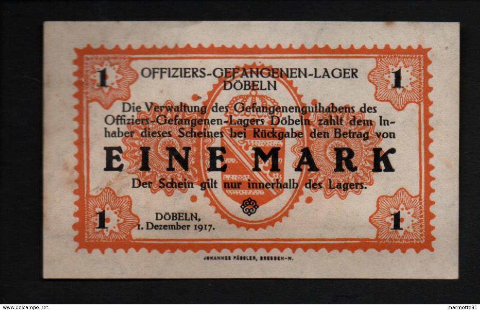GEFANGENENLAGER GELD LAGERGELD BILLET CAMP DOBELN OFFICIER PRISONNIER ALLEMAGNE KG POW GUERRE 1914 1918 - Autres