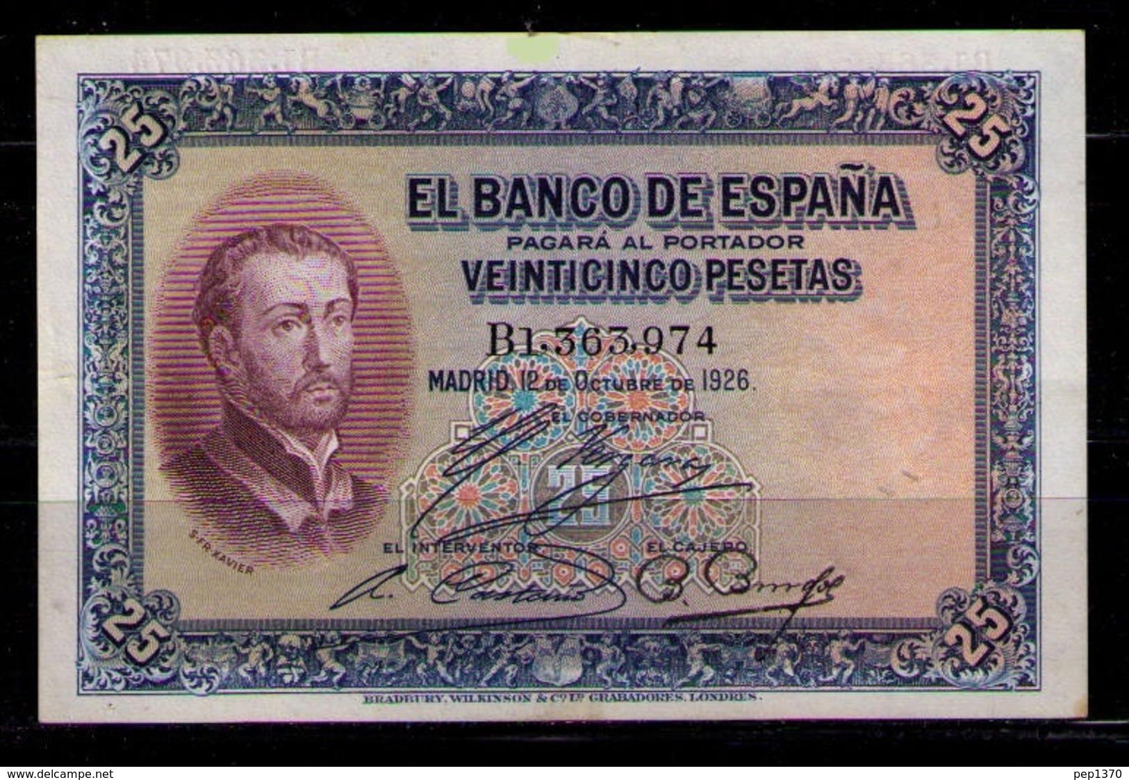 ESPAÑA - BILLETE DE 25 PESETAS DE 1926 - EXCELENTE - 1-2-5-25 Pesetas