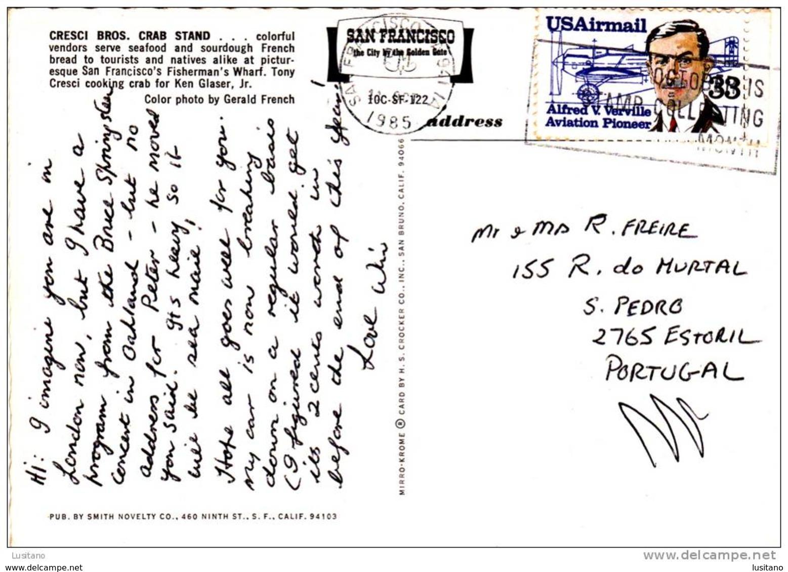 San Francisco - Crab Stand Fisherman's Wharf Restaurant - USA Used Stamp Theme Aviation (2 Scans) - San Francisco