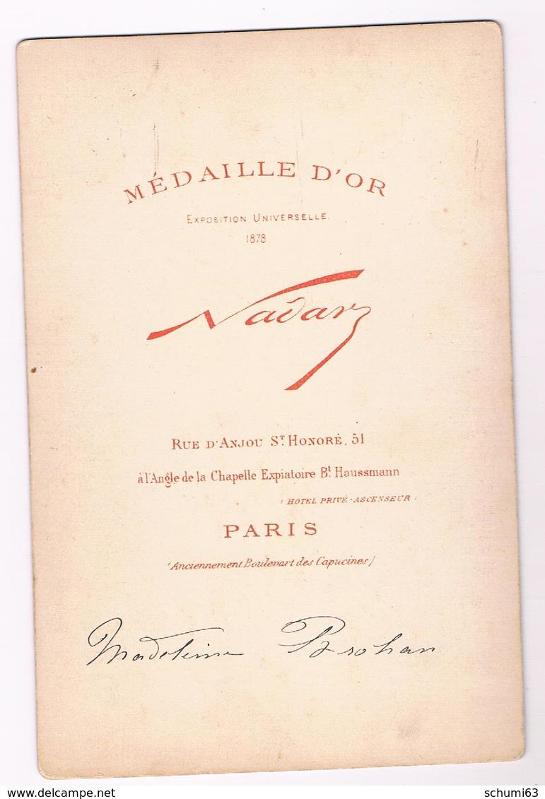 Belle Photo Ancienne - NADAR -  MADELEINE  BROHAN  Artiste -  Actrice  Avant 1900 - 10,5 Cm X 16 Cm - Photos