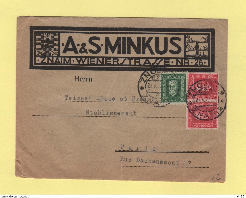 Tchecoslovaquie - Znaim - 1927 - Destination Paris - Enveloppe Illustree - Tschechoslowakei/CSSR