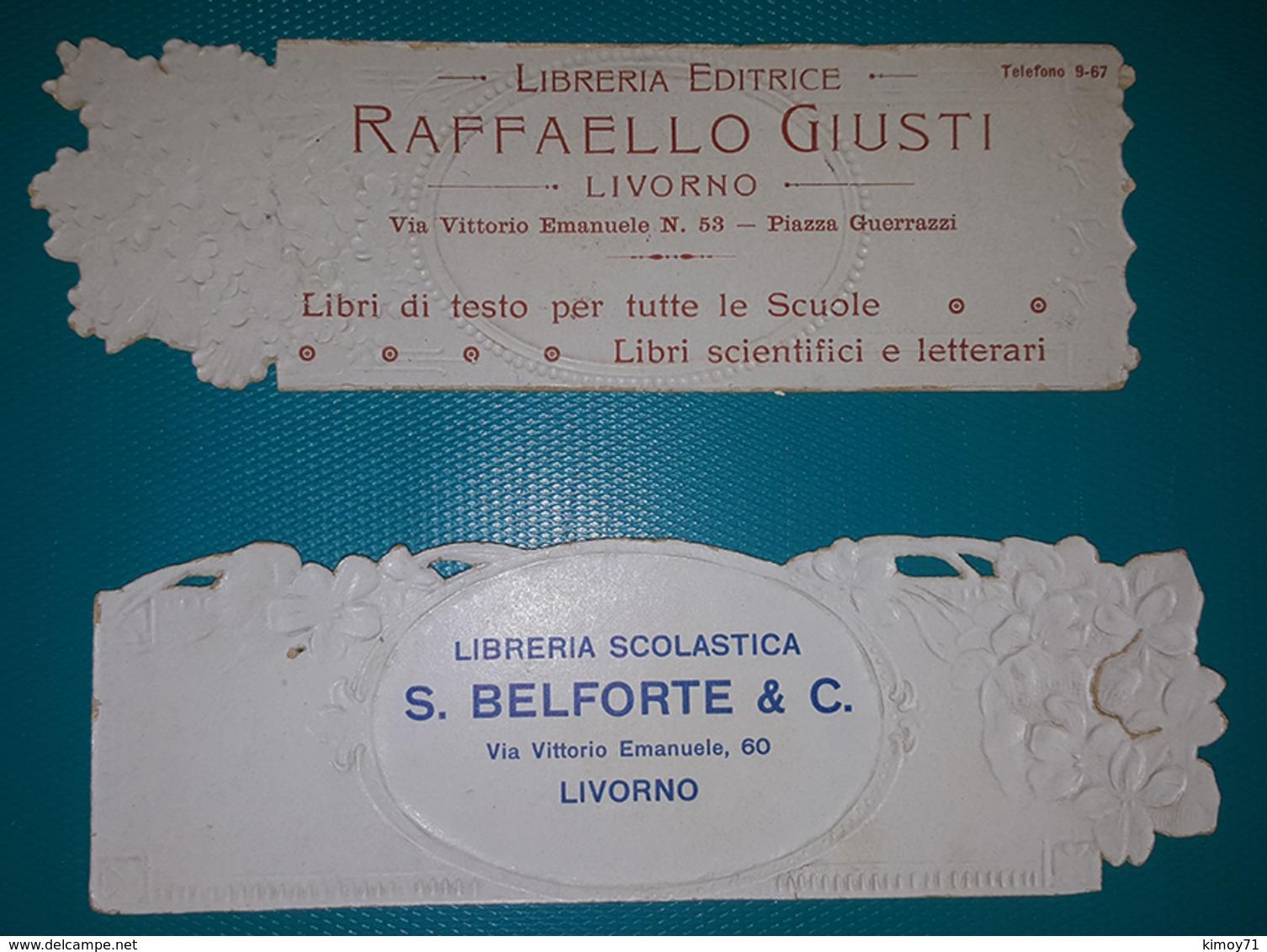 Segnalibri Illustrati Pubblicitari - Libreria Editrice Raffaello Giusti E Libreria Scolastica S. Belforte E C. - Segnalibri