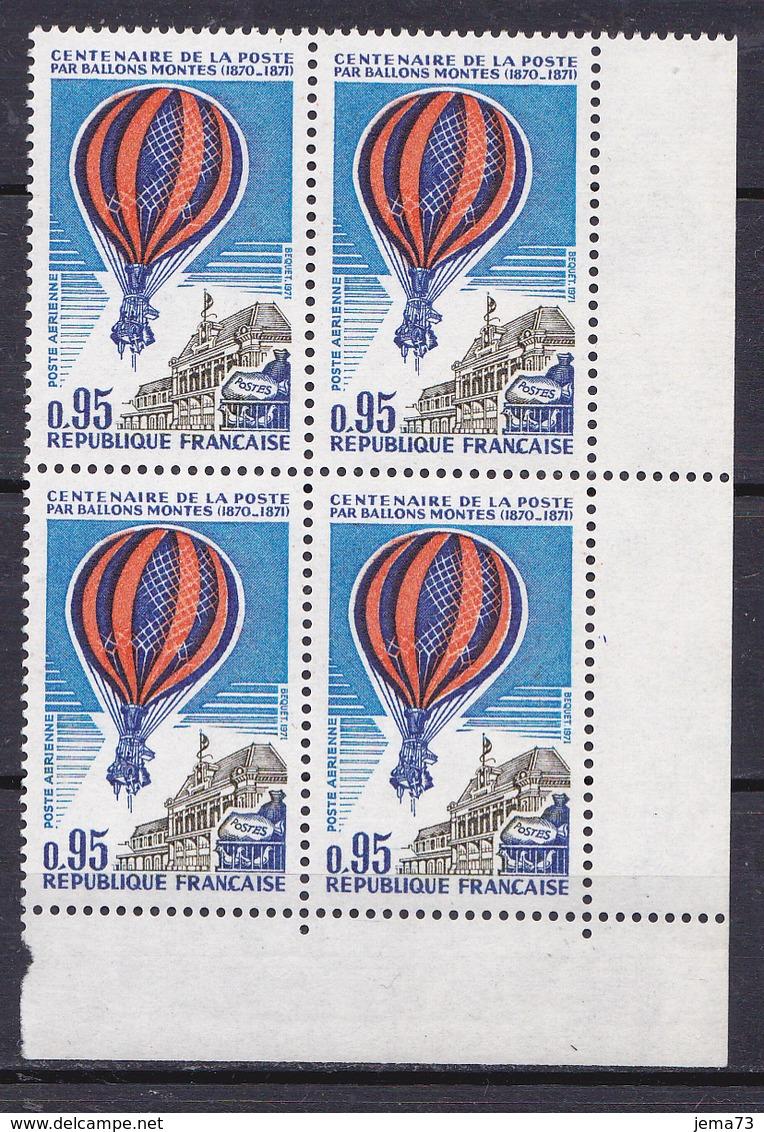 N° 45.P.A : Centenaire De La Poste Par Ballons Montés: Bloc De 4 Timbres Impeccable - 1960-.... Mint/hinged