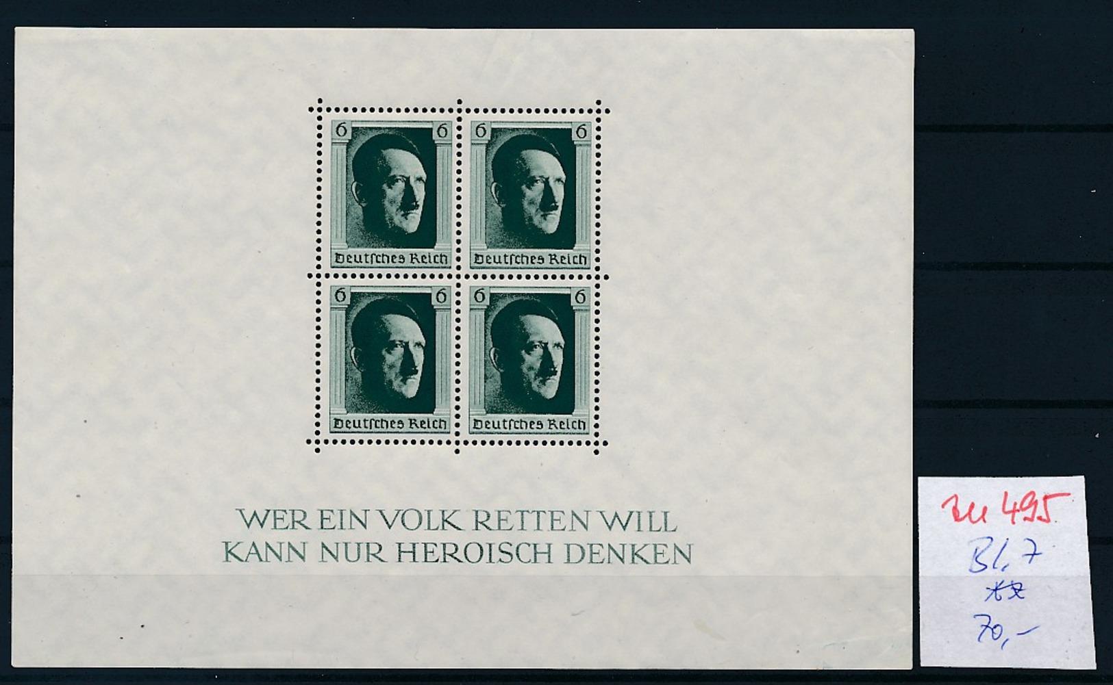 D.-Reich Nr.  Block 7  **  (zu495  ) Siehe Scan - Deutschland