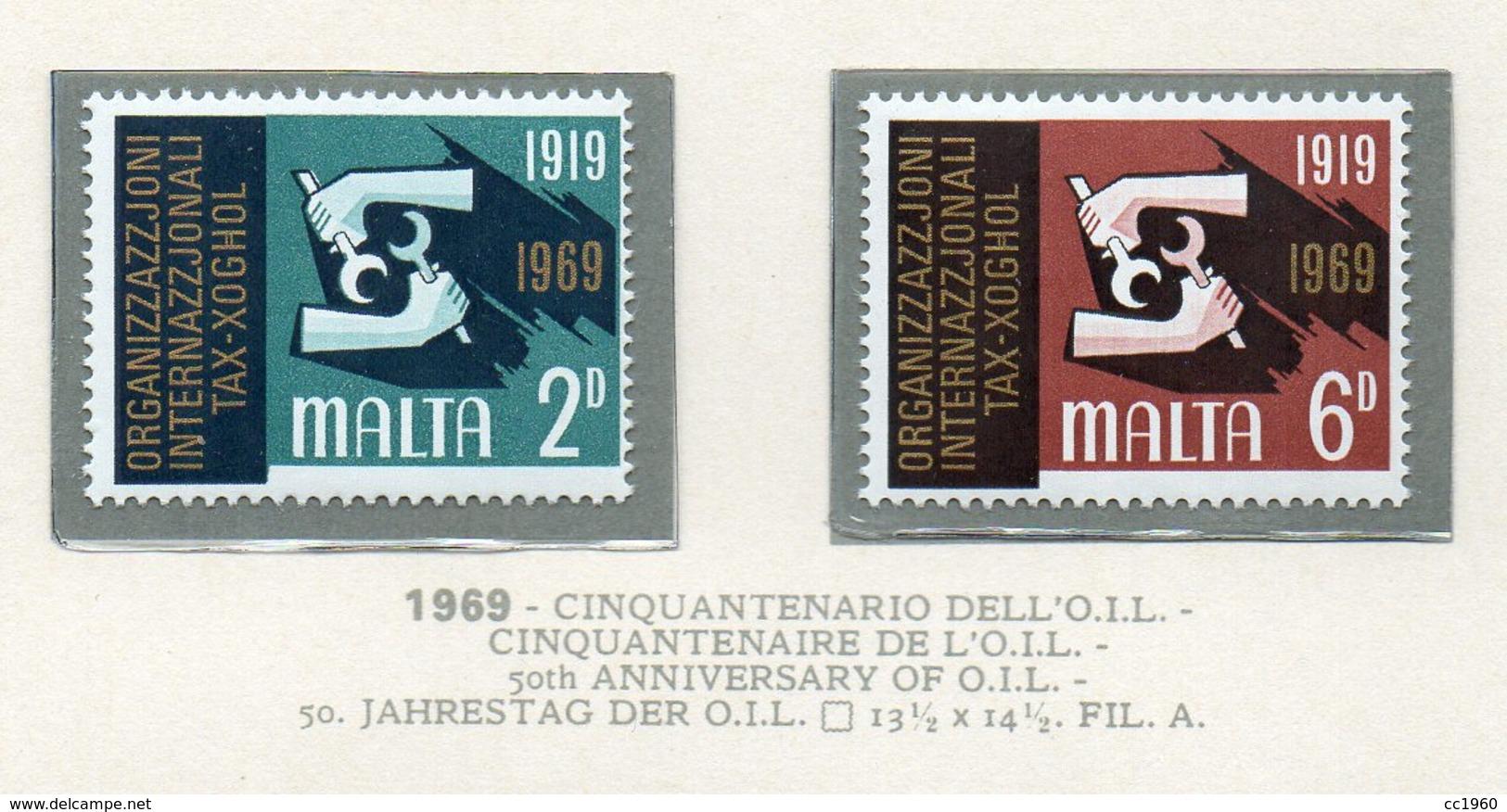 Malta - 1969 - Cinquantenario Dell' O.I.L. - 2 Valori - Nuovi - Vedi Foto - (FDC14021) - Malta