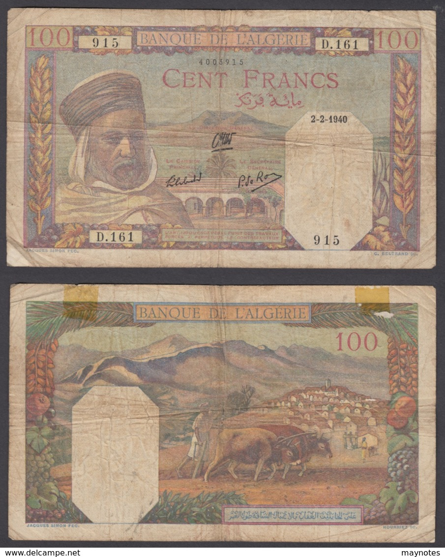 Algeria 100 Francs 1942 (VG) Condition Banknote P-85 - Algeria