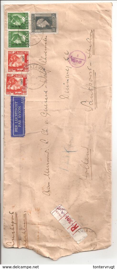 Aangetekend Luchtpost Batavia>Santpoort. Deviezen Controle - Nederlands-Indië
