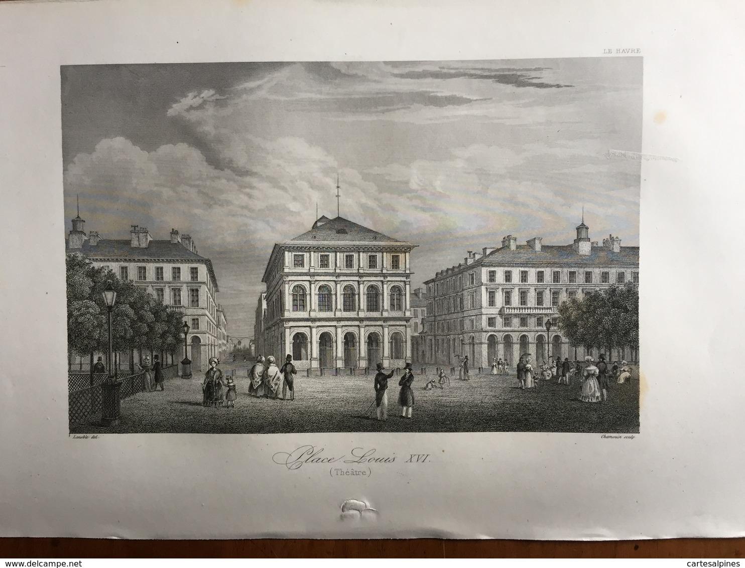 (Normandie) Le Havre: Place Louis XVI (théâtre). Gravure De 1840. - Normandie