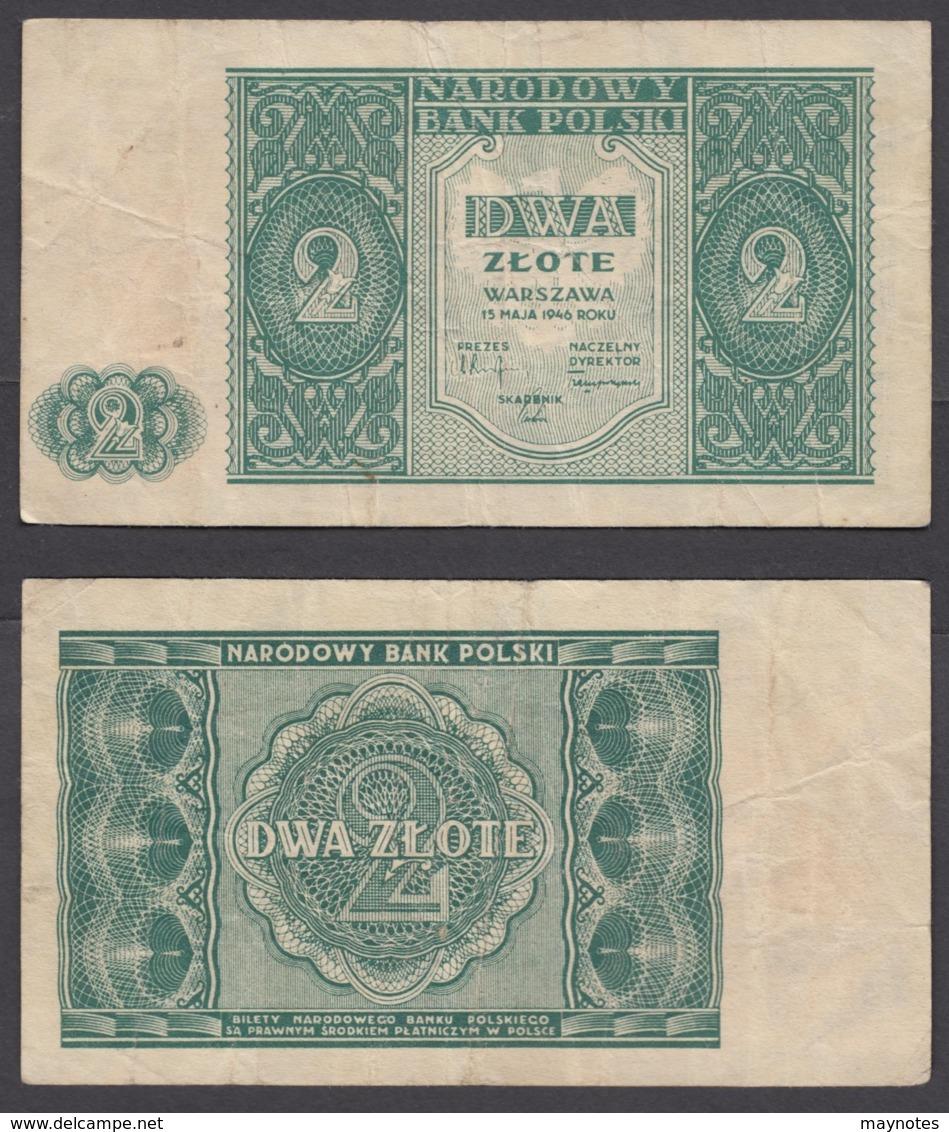 Poland 2 Zlote 1946 (aVF) Condition Banknote P-124 - Poland