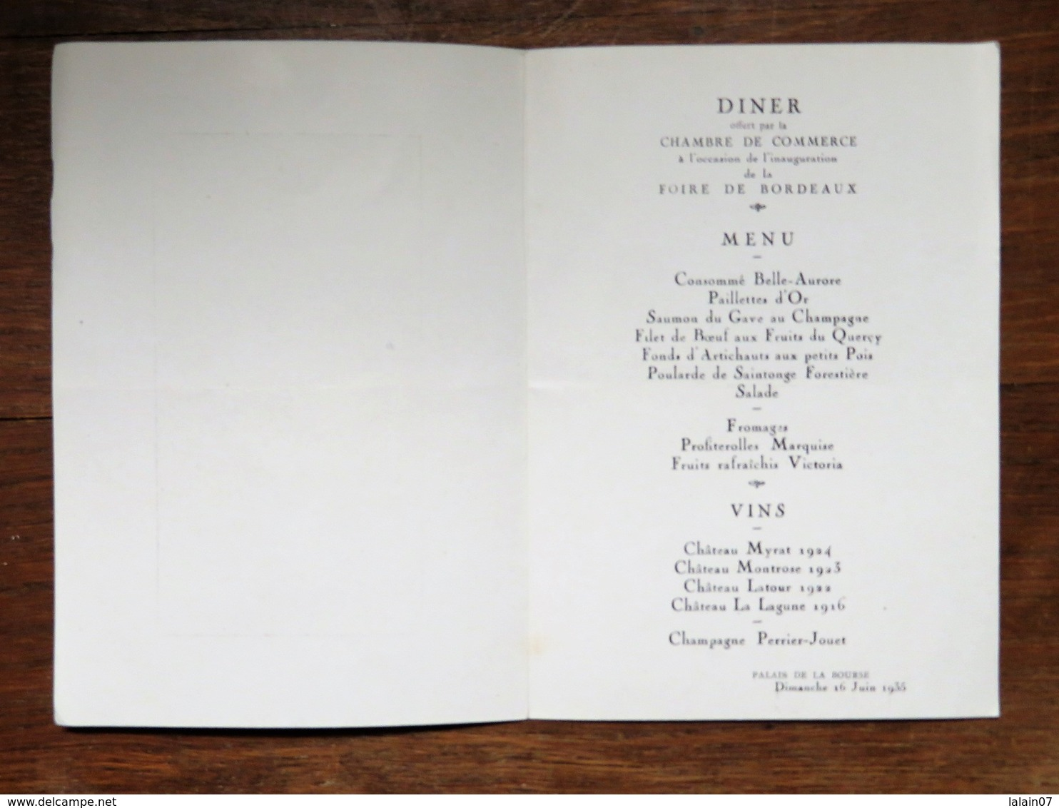 Menu : Diner Offert Par La Chambre De Commerce à L'occasion De L'inauguration De La Foire De BORDEAUX, Le 16 Juin 1935 - Menus