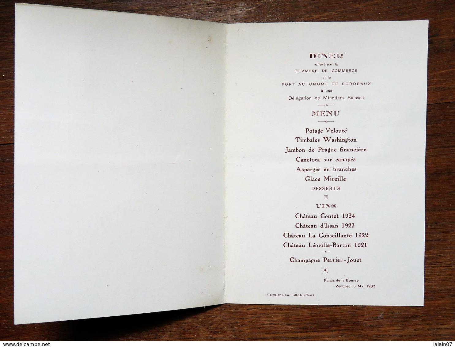 Menu : Diner Offert  Chambre De Commerce Et  Port Autonome De BORDEAUX à Une Délégation MINOTIERS SUISSES, Le 6 Mai 1932 - Menus