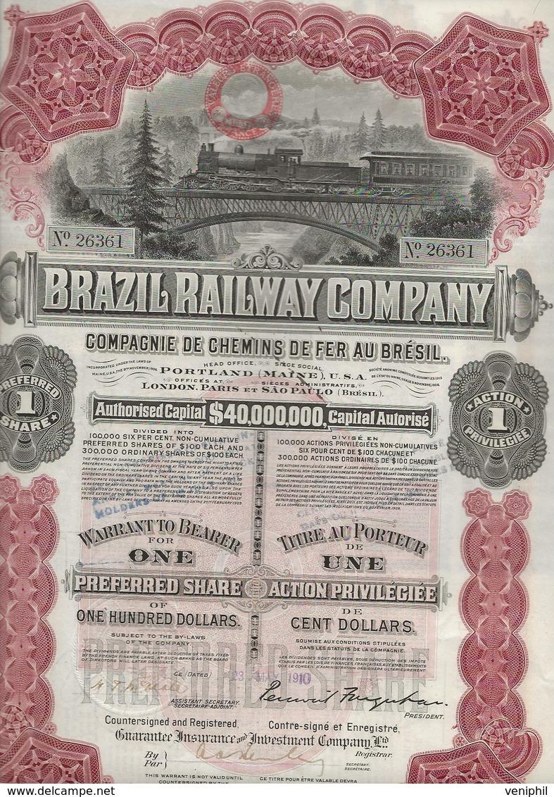 BRAZIL RAILWAY COMPAGNIE - ACTION DE CENT DOLLARS - ANNEE 1910 - Chemin De Fer & Tramway