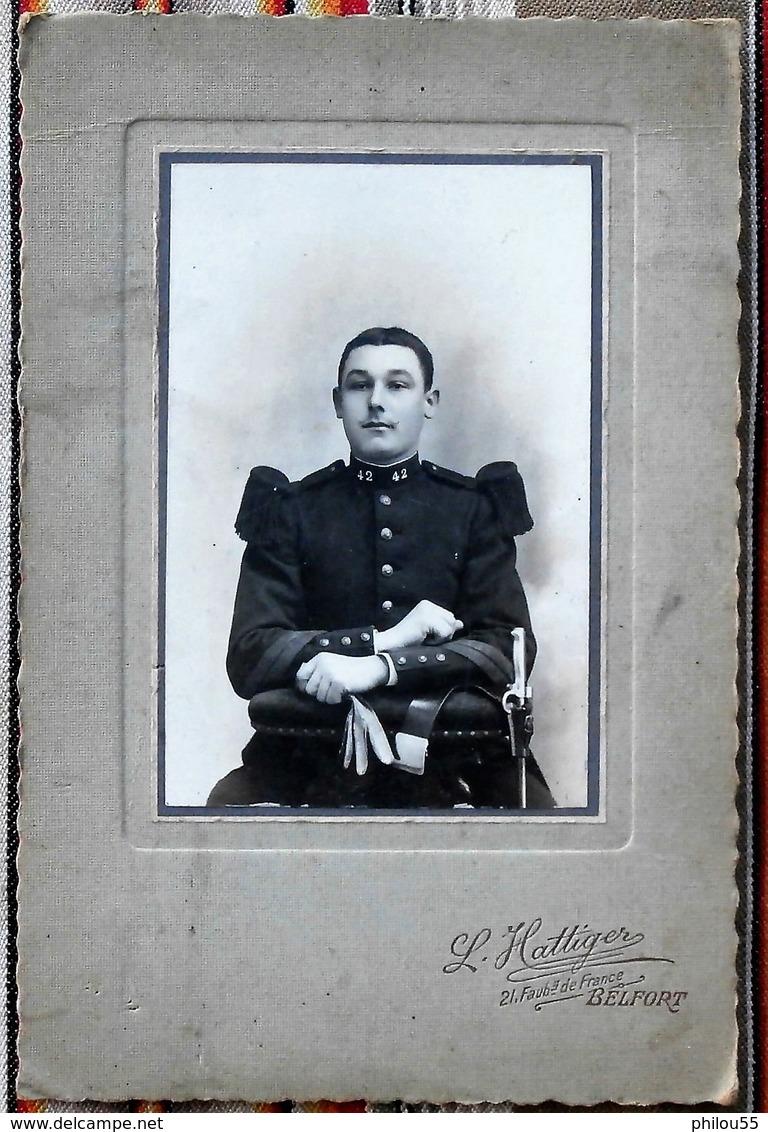 90 BEFORT L. Hattiger Photo CDV Grand Format  Militaire Du 42eme...  Rosalie - Guerra, Militari