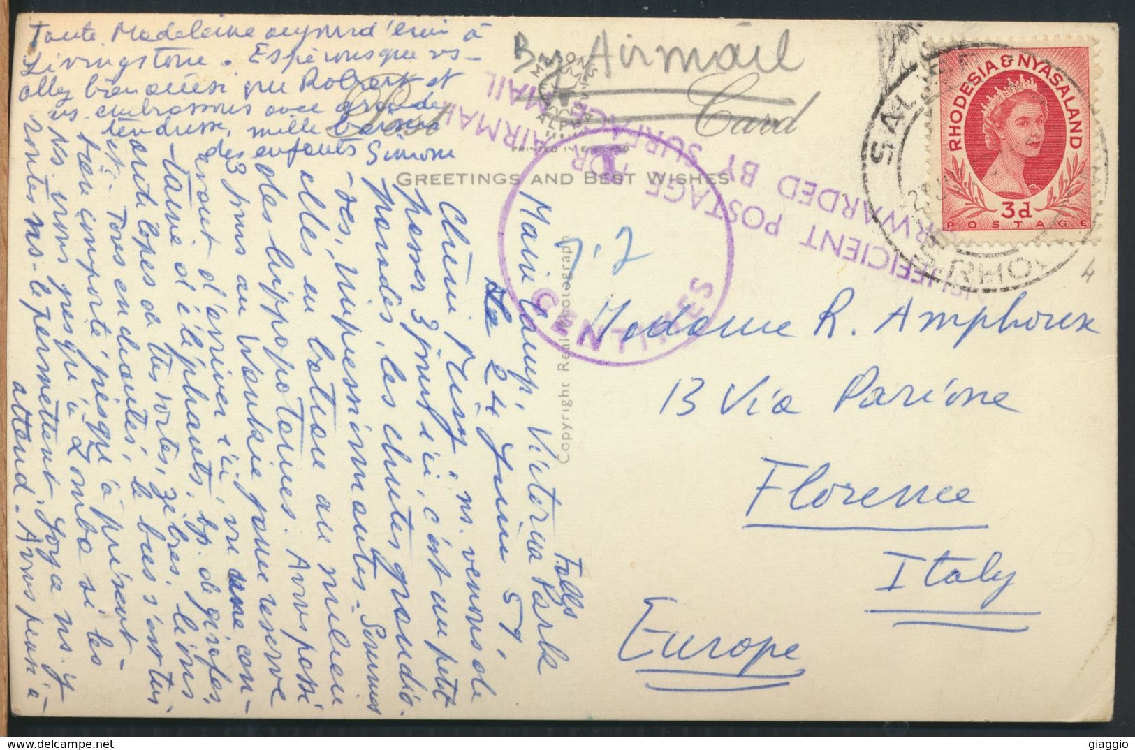 °°° 13142 - RHODESIA & NYASALAND - EASTERN CATARACT , VICTORIA FALLS - 1959 With Stamps °°° - Zimbabwe