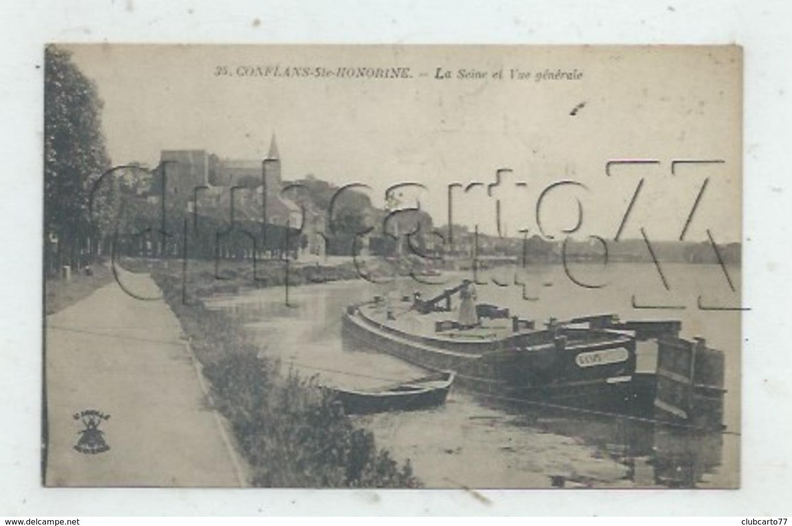 Conflans-Sainte-Honorine (78) : GP De La Péniche GASPE Amarrée à Un Quai De La Seine Environ 1922 (animée) PF. - Conflans Saint Honorine