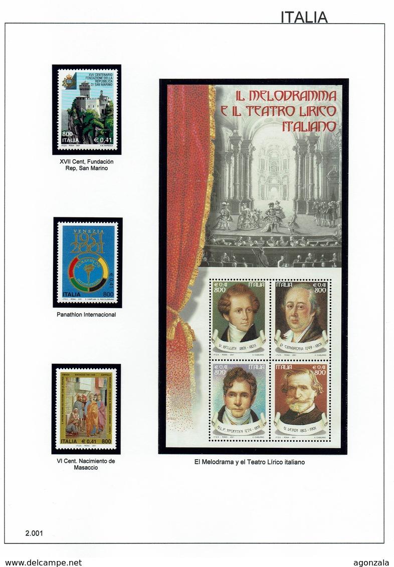 COLLECTION TIMBRES NOUVELLES MNH DE ITALIE ANNÉES 1975 À 2016 COMPLETES MONTÉE DANS 5 ALBUMS AVEC BANDES HAWID - Stamps