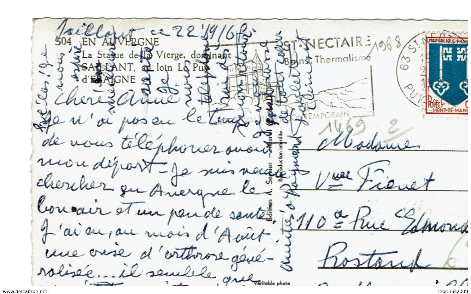 N° 1469 Seul Sur CP De 1968 - Marcophilie (Lettres)