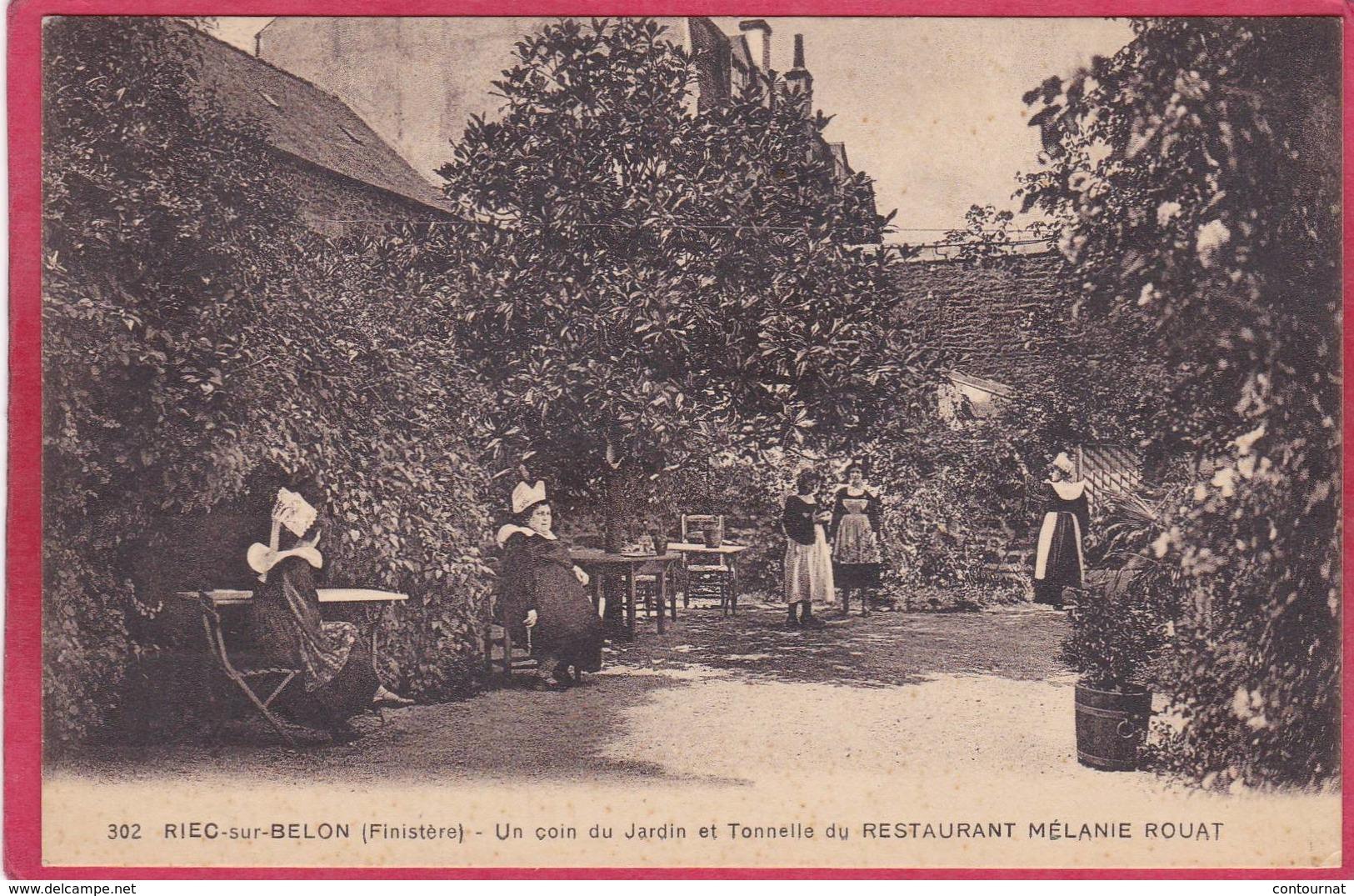 CPA 29 RIEC SUR BELON Un Coin Du Jardin Et Tonnelle Du Restaurant Mélanie ROUAT C/ MOELAN SUR MER - France