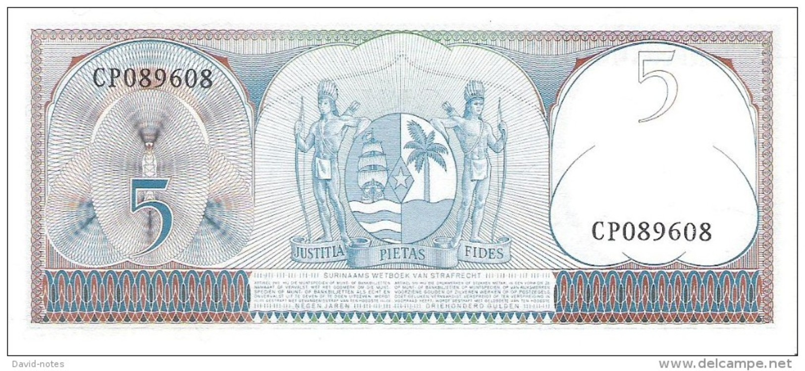 Suriname - Pick 120 - 5 Gulden 1963 - Unc - Surinam