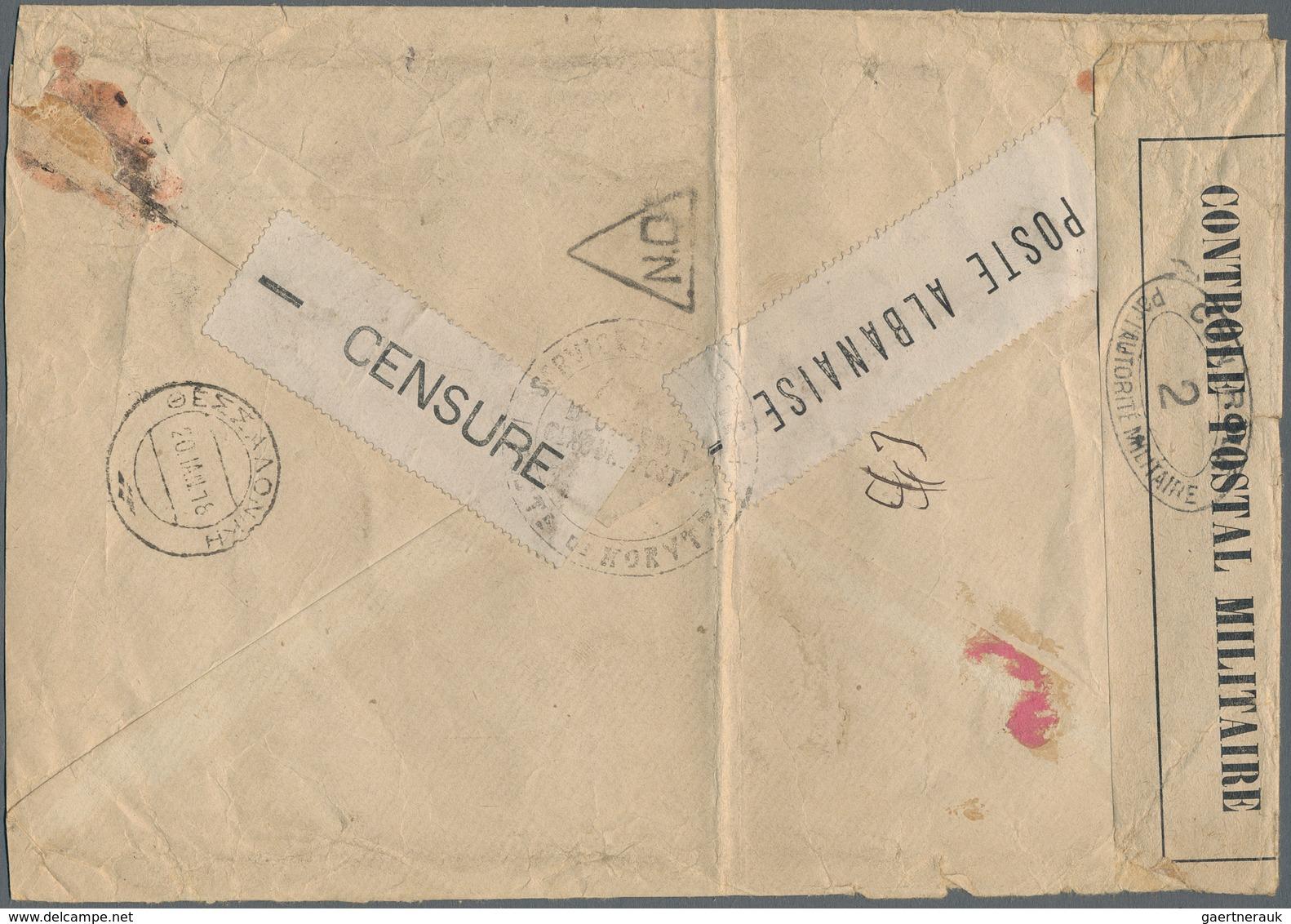 Albanien - Lokalausgaben: 1917, KORCA: 10 Cts Red-brown/black, 50 Cts Lilac/black And Horizontal Str - Albanien