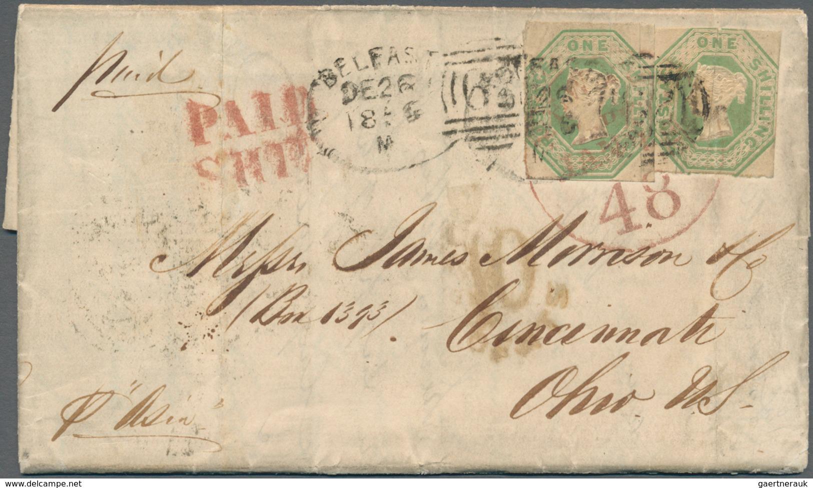 Irland: 1856 Destination OHIO, USA: Entire Letter From Belfast To Cincinnati, Ohio Via Liverpool And - 1922 Provisorische Regierung