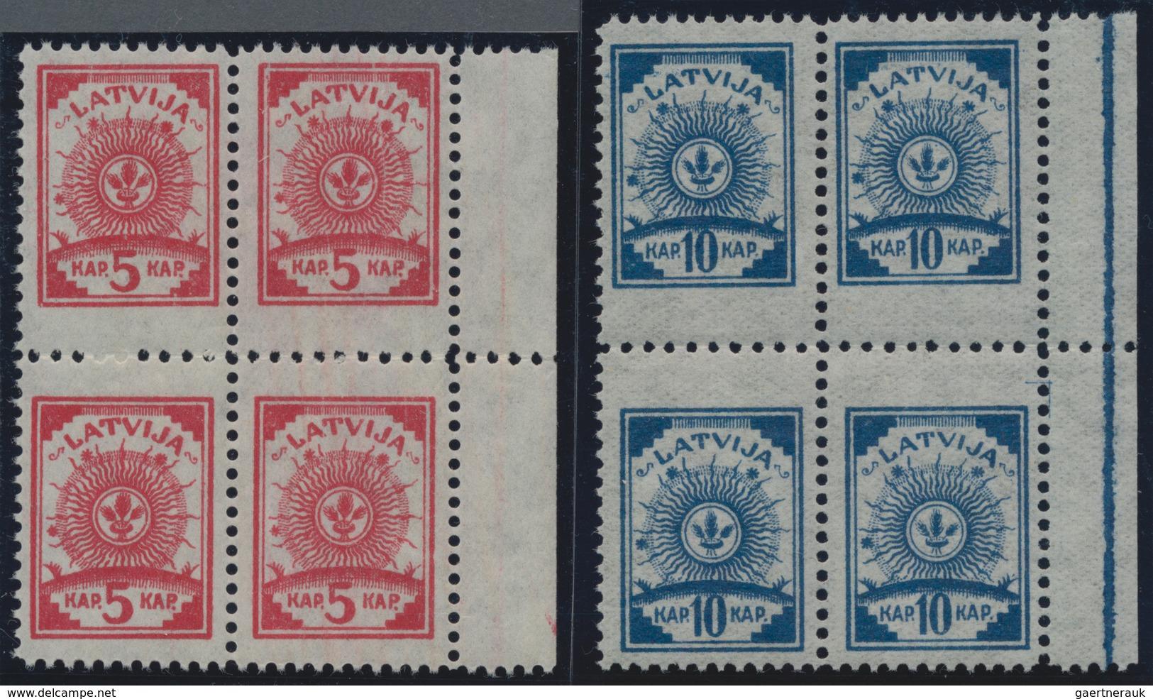 Lettland: 1919, Freimarken-Symbolic, Postfrische Luxus-Serie Mit Seltenem Mittelzhg.9 3/4, Handbuch - Lettland