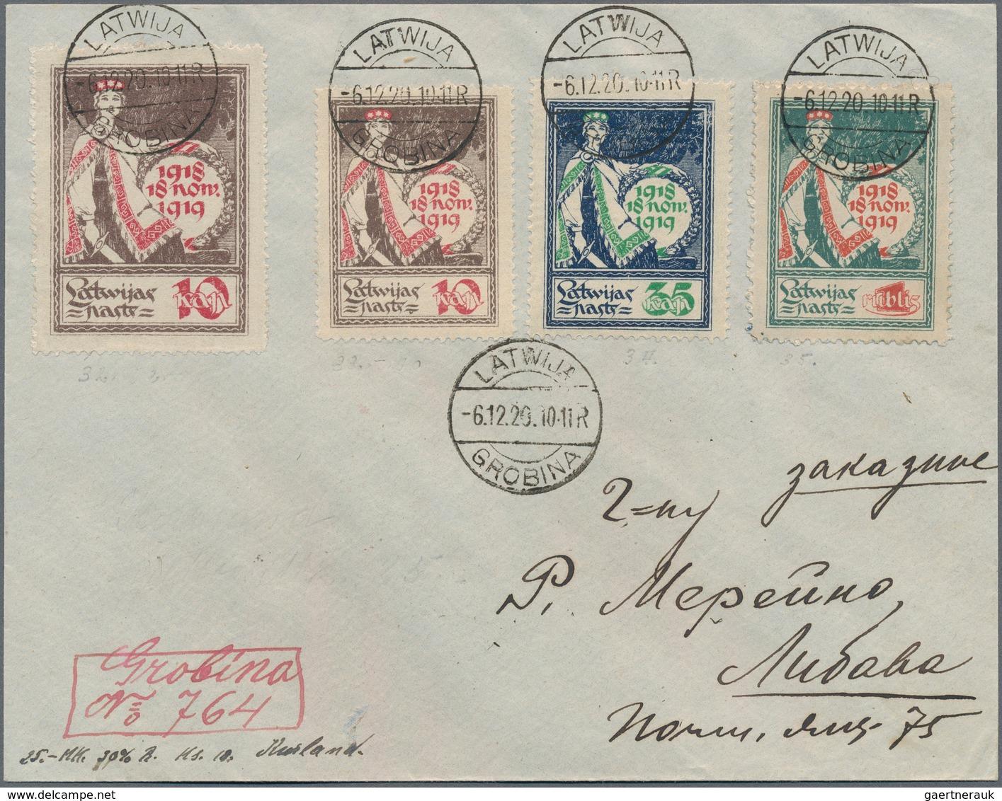 """Lettland: 1920: """"GROBINA LATWIJA 6.12.20"""" (transformed Former German Occupation Handstamp) On First - Lettland"""