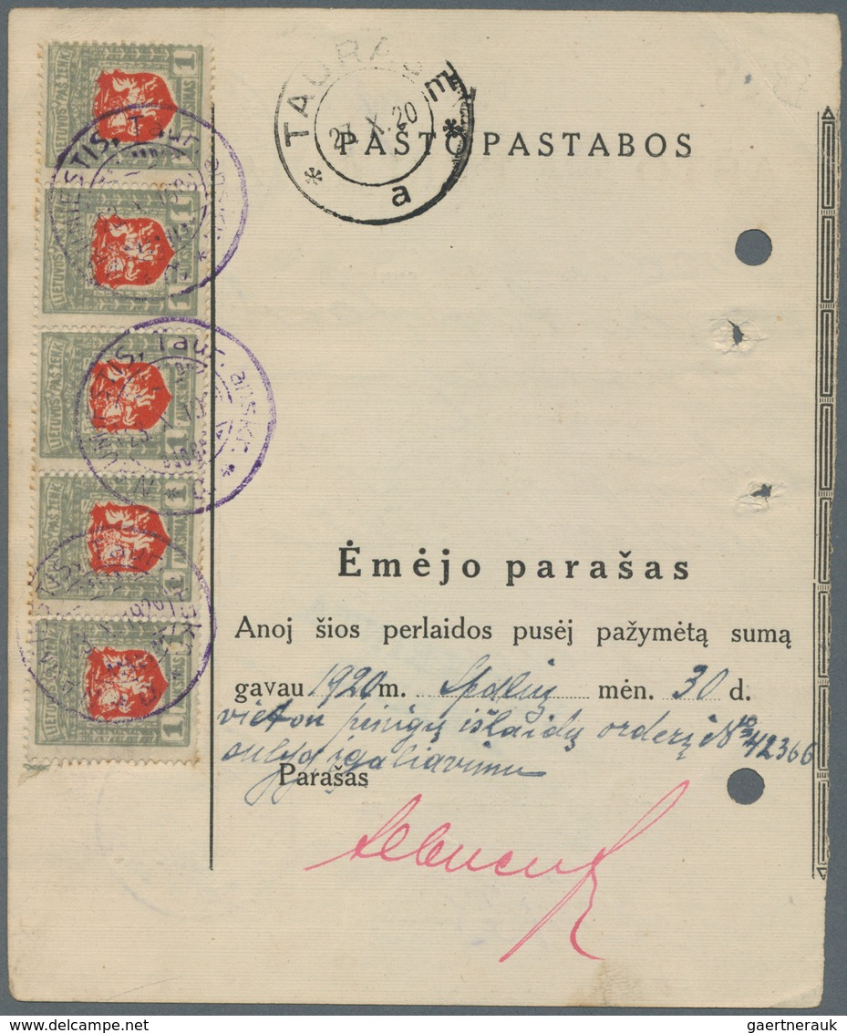 Lettland: 1919. MONEY ORDER (PASTO PERLAIDA), Black/old White Form, For The Sum Of 1,000A, Franked 1 - Lettland