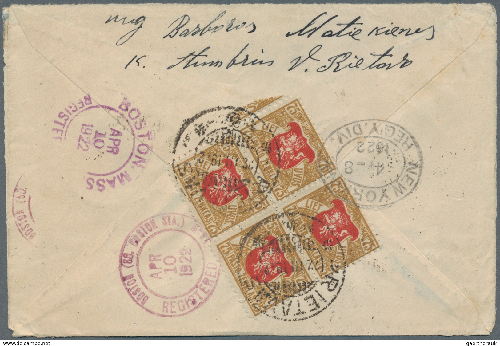 Lettland: 1922, Registered Cover, Opend At Three Sides, Stains, To USA Franked 5a Red And Blue-green - Lettland
