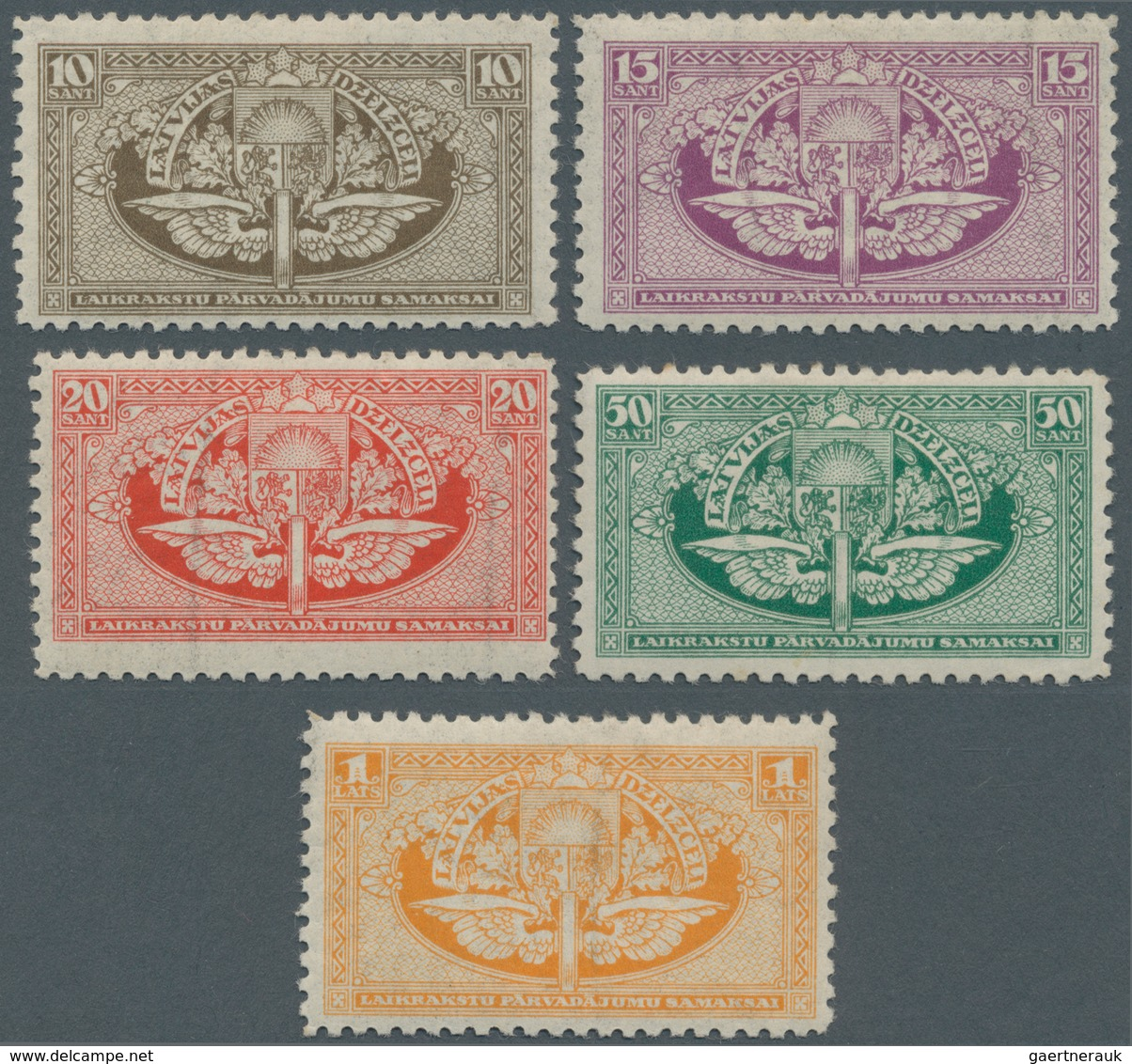 Lettland: 1926 (1 Sep). RAILWAY - NEWSPAPER STAMP. 10s Olive, 15s Lilac, 20s Red, 50s Green And 1 La - Lettland