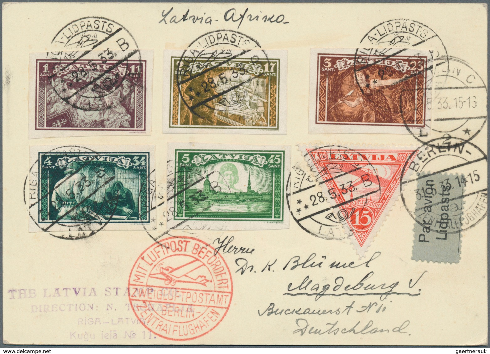 "Lettland: 1933, ""Africa Flight"" Leg To Berlin. Postcard With Better Franking From RIGA-LIDPASTB B 28 - Lettland"