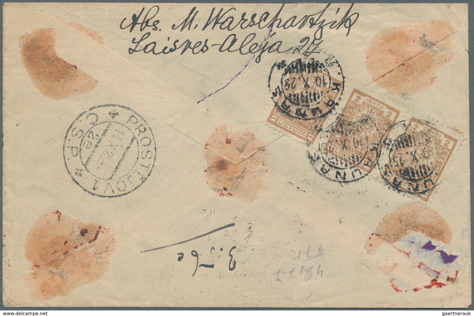 Lettland: 1925. Registered Value Declared Letter (425 Frs) To An Address In Czechoslovakia, Franked - Lettland