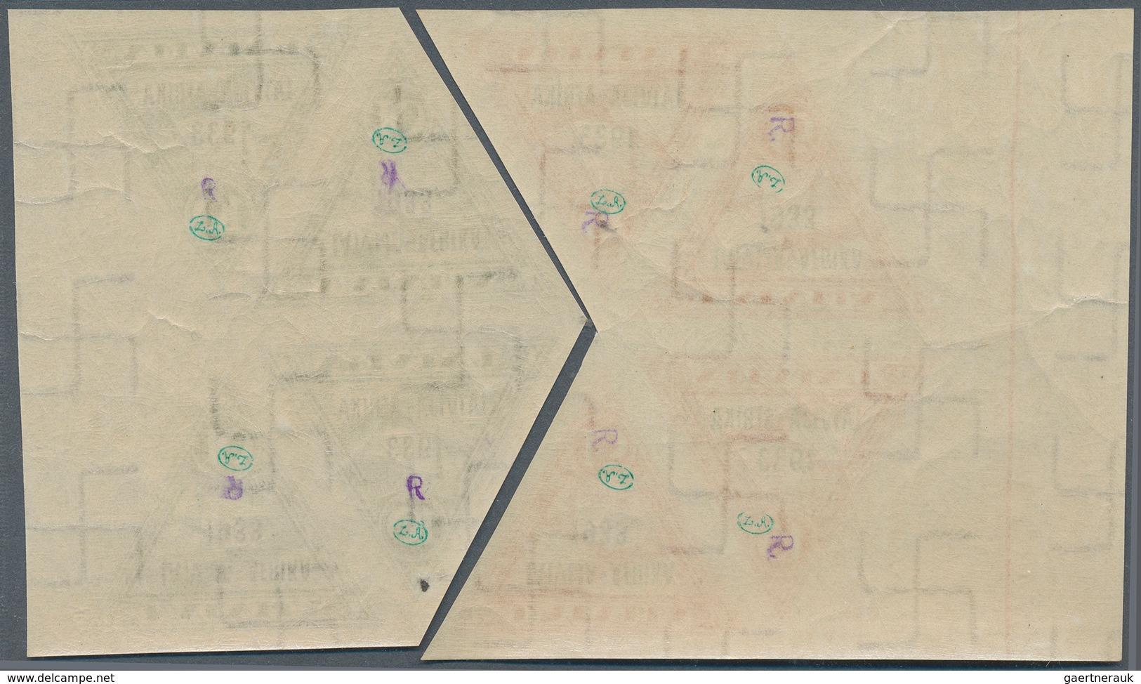 """Lettland: 1933, In Seltenem """"tete Beche"""", Drei Postfrische 4er-Blocks Vom Rand Mit Leerfeldern (Mi. - Lettland"""