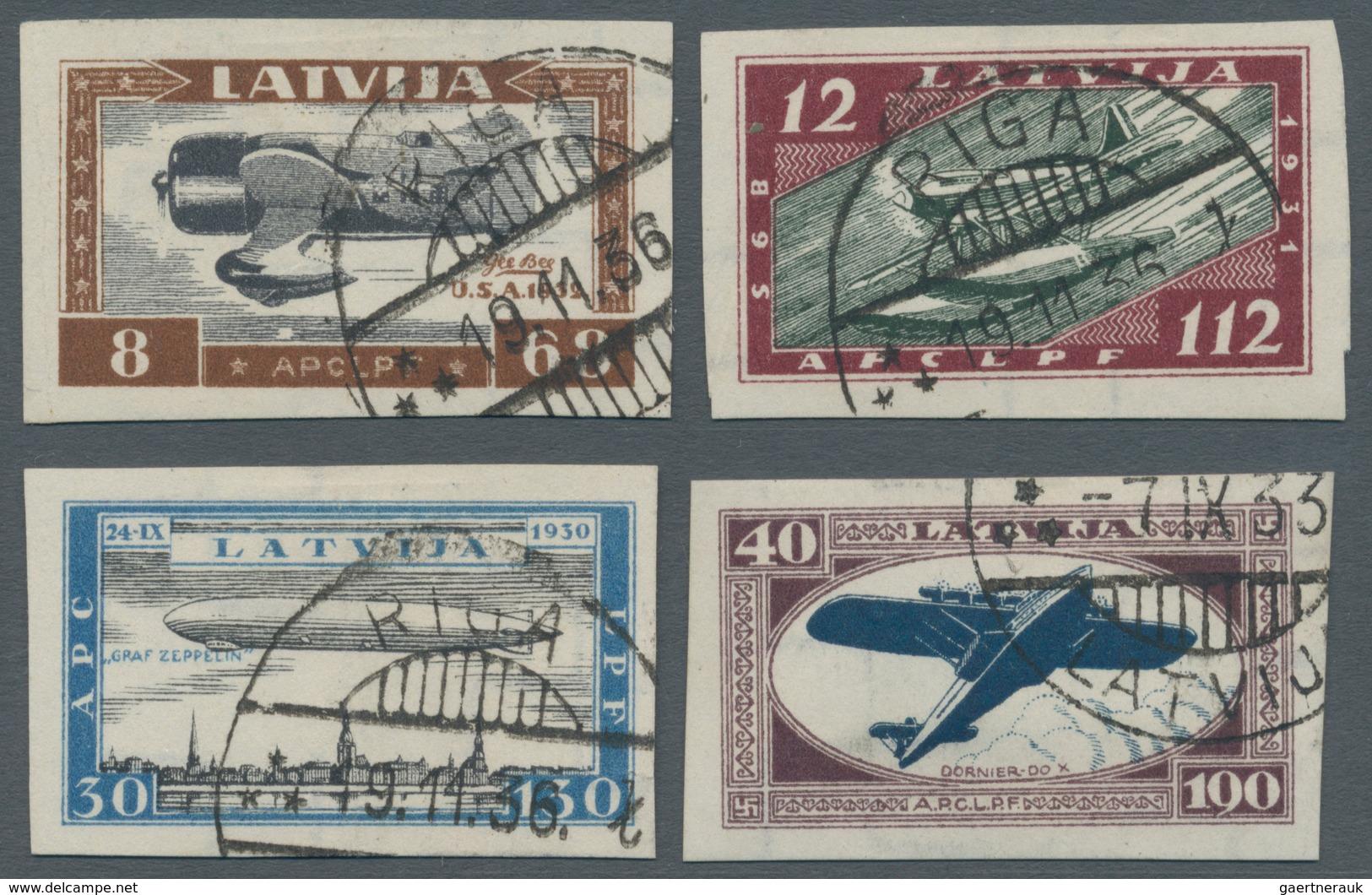 """Lettland: 1933, Klarer Und Zeitgerechter Gestempelter Luxussatz """"Hilfsfond Für Verunglückte Flieger"""" - Lettland"""