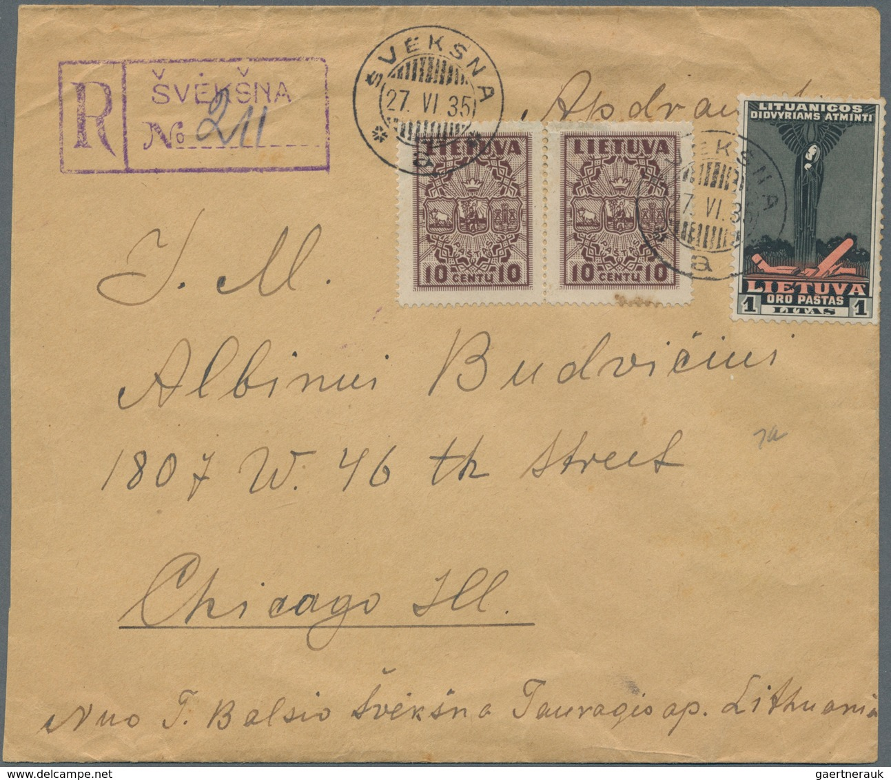 Lettland: 1935, Registered Cover, Left Side Shortend, To Chicago, ILL., Franked 10c Chocolate (SG 40 - Lettland