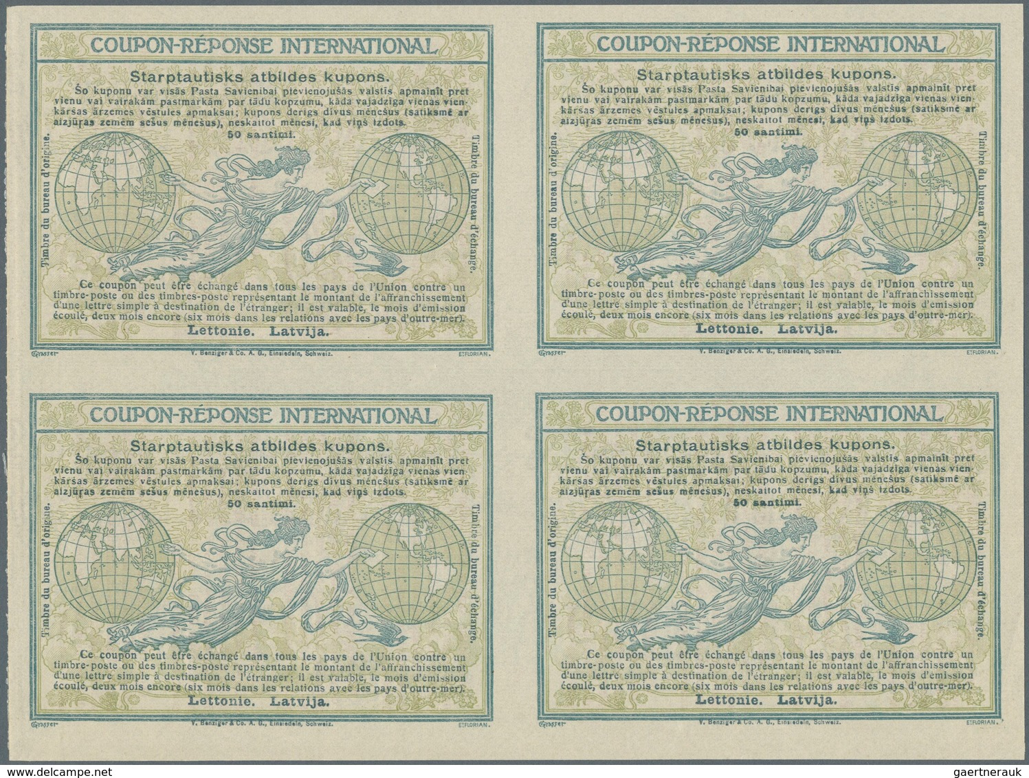 "Lettland - Ganzsachen: Design ""Madrid"" 1920 International Reply Coupon As Block Of Four 50 Santimi L - Lettland"