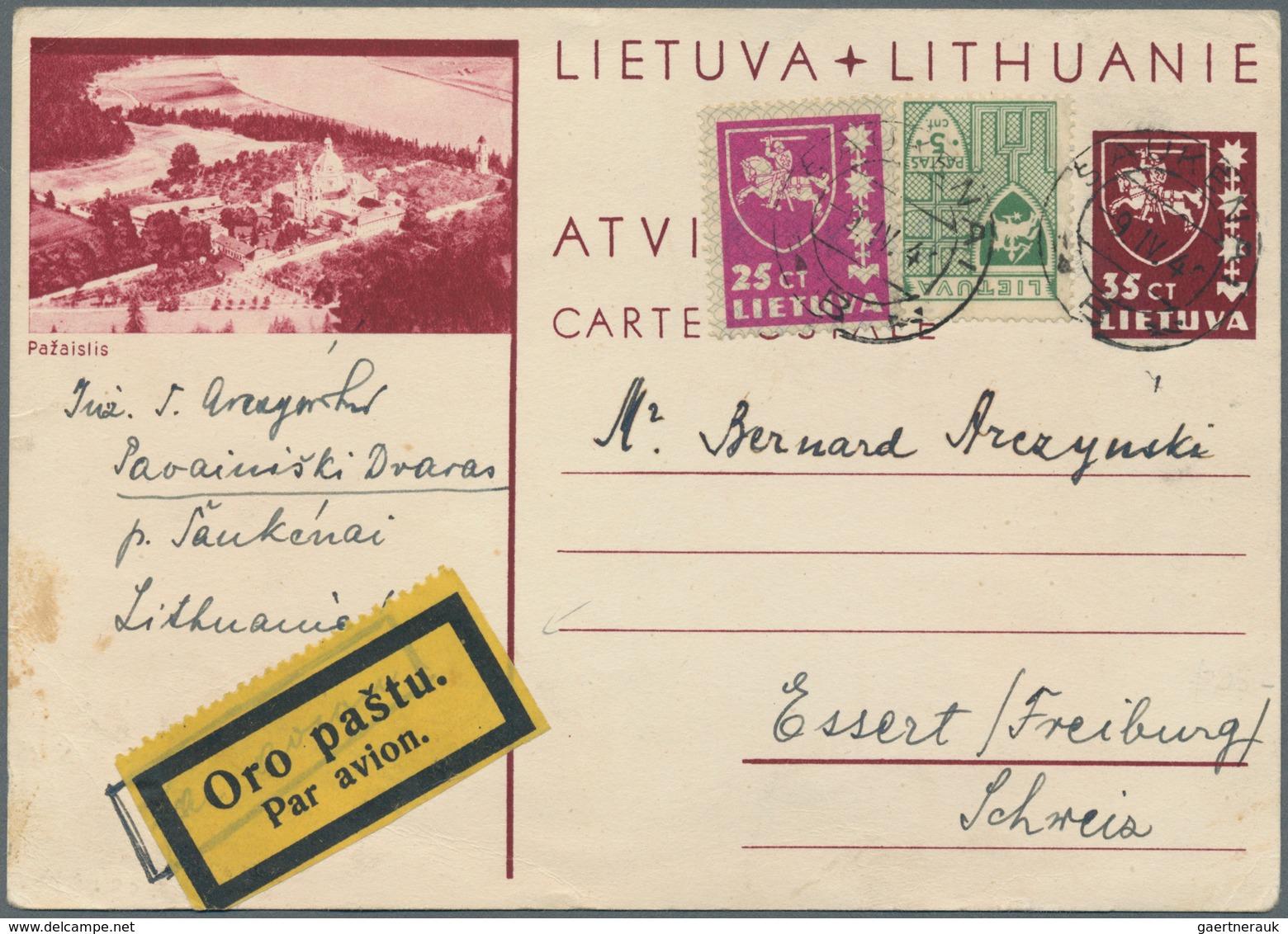 Lettland - Ganzsachen: 1940, 35c Brown-carmine Illustrated Stationery Card (Michel P25-07, Pozaislis - Lettland