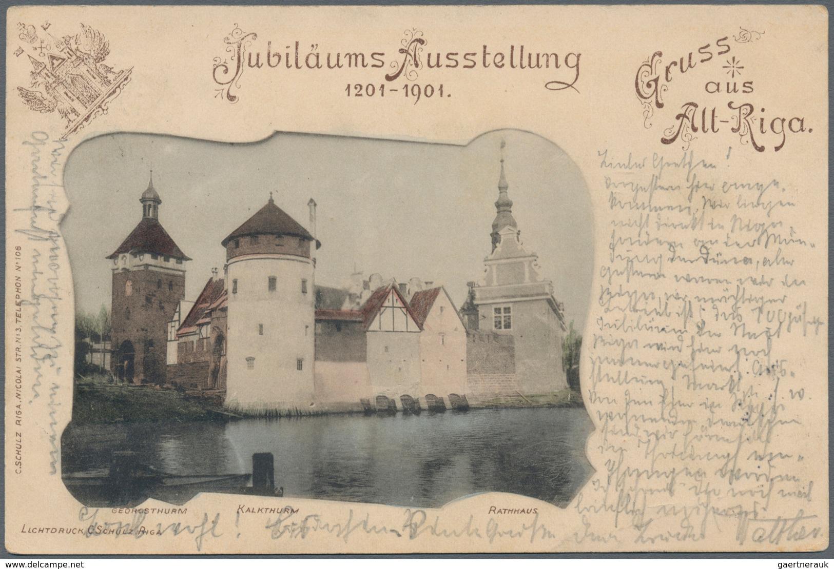 """Lettland - Besonderheiten: 1901, Tolle Ansichtskarte """"Jubiläums-Ausstellung 1201.1901"""", """"Gruß Aus Al - Lettland"""
